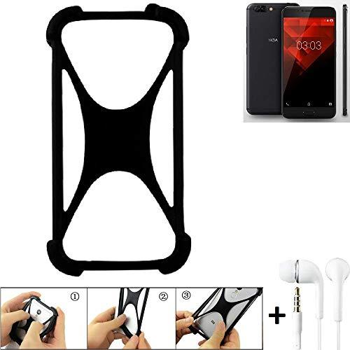 K-S-Trade® Handyhülle Für NOA H10le Schutzhülle Bumper Silikon Schutz Hülle Cover Case Silikoncase Silikonbumper TPU Softcase Smartphone, Schwarz (1x), Headphones