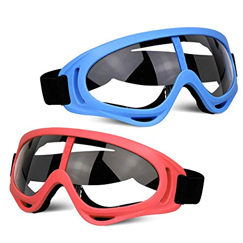 POKONBOY 2 Pack Protective Goggles / Safety Glasses / Motorcycle Eyewear with Bandanas - Compatible with Nerf Game Battle for Kids (Red & Blue)