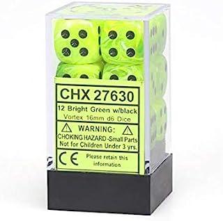 CHX27630 Dot Dice, 16mm, 12D6 Vortex Bright Green/Black