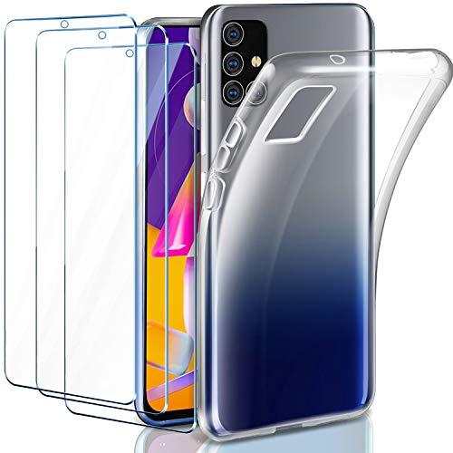 Leathlux Cover Samsung Galaxy M31s Trasparente + 3 × Pellicola Vetro Temperato, Custodia Samsung M31s Silicone Morbido Protettivo TPU Gel Cover per Samsung Galaxy M31s 6.5'
