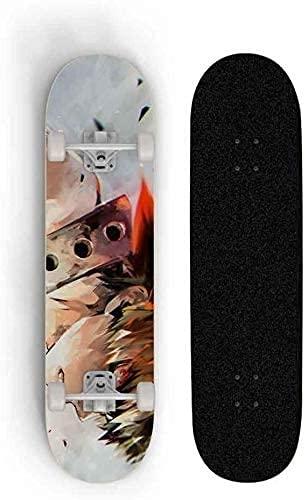 ZZYYII My Hero Academia: Bakugou Katsuki Anime Skateboard Siete Mapate Skateboard Outdoor Extreme Sports Skateboard Doble Tild Scooter Best Regalo