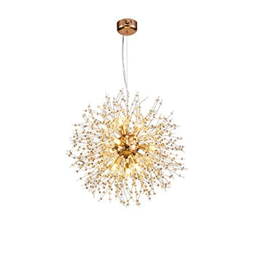 VELIHOME Lustre moderno com pingente de cristal, formato redondo, moderno, dente-de-leão, Sputnik, candelabro, fogos de artifício, luminária pendente de teto para sala de estar em casa