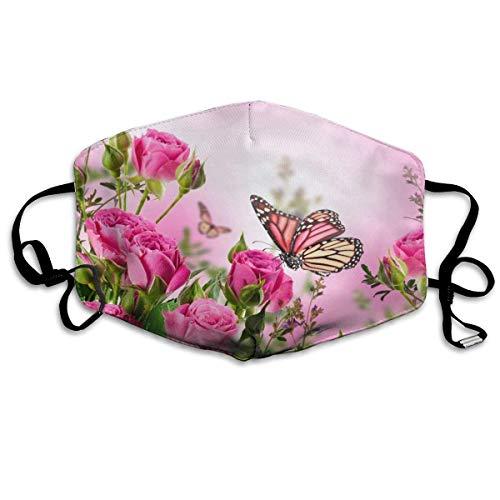 Rosa Blumen Schmetterlinge Zen Blumen Mund Abdeckung Gesicht Abdeckung