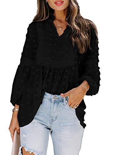 Modasua Mujer Blusa Camisa Manga Larga para Sudadera Gasa Color sólido Blusa Encaje Vintage Tops Camisa Tops Sueltos Camiseta con Cuello en v Túnica Elegante con Mangas de Globo