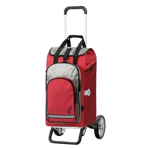 Andersen Chariot de courses Alu Star avec sacoche Hydro rouge, volume 60L, poche isotherme et cadre aluminium