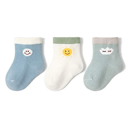 LUO Calcetines Calcetines para niños pequeños no deslizados, Calcetines de Suelo, Calcetines para niños y Zapatillas, niños y niñas de 0 a 5 años (Color : B, Size : 6-12 Months)