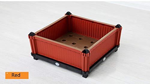 Soclear - Bac a Culture - Pot de Fleurs - Jardiniere en Plastique - Potager - Systeme de Drainage - 40 x 40 x 25 cm - Lot de 1 Rouge