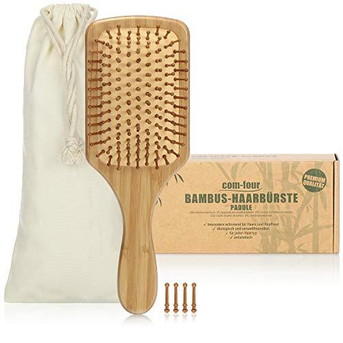 com-four® Cepillo de Pelo Natural Hecho de bambú - Cepillo de Paleta con...