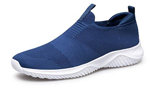 YHOON Women's Walking Shoes Slip on Sneakers - Lightweight Tennis Shoes Sock Sneakers Navy Blue 10