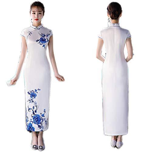 Skirts - Collar de estilo chino con diseo de flores, largo a mano a L