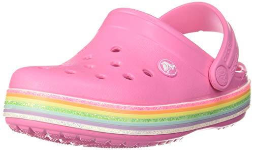 Crocs Unisex Kid's Crocband Rainbow Glitter Clog Slip On Girls' Sandal Water Shoe, White, C11 M US Little
