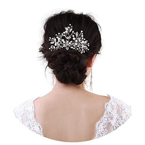 TOPQUEEN Haarschmuck für braut hochzeit haarschmuck hochzeit Silber Strass Braut Haarkamm Hochzeit Haarschmuck Tiara Diadem, Schmetterlinge (HP117)