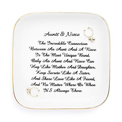 """PUDDING CABIN Aunt Gift from Niece, """"Aunts&Niece"""" Trinket Dish Ring Holder for Aunts Birthday, Mothers Day, Valentine's Day, Thanksgiving, Xmas Gifts"""
