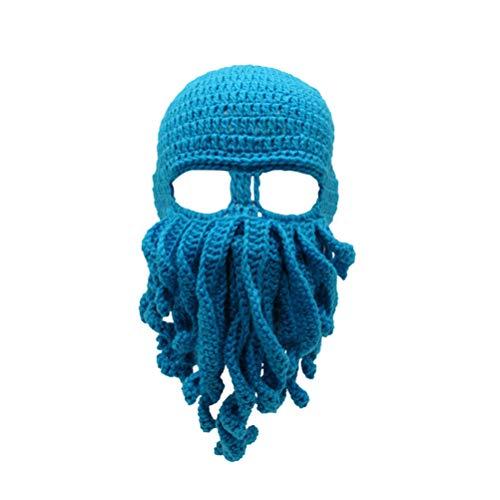LIOOBO Krake Strickmütze Unisex handgemachte Kopfmaske Tintenfisch Mütze häkeln Mützen für Männer Frauen Erwachsene (himmelblau Kopfumfang 58 5 cm)