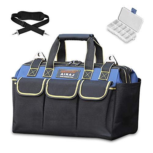 AIRAJ Heavy Duty Tool Bag 43×22×28cm,Wide Mouth for Tool Storage,Large Tool Bags with Plastic Handle and Adjustable Shoulder Strap,Tote Tools Bag for Household,Carpentry,Electrician,DIY Enthusiasts