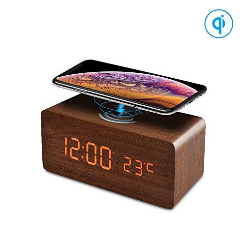 FiBiSonic LED Holz Wecker digital mit Wireless Charger für Qi-fähigen Handys, Funkwecker Tischuhr Dekoration mit 3 Alarm für Schlafzimmer/Büro Braun