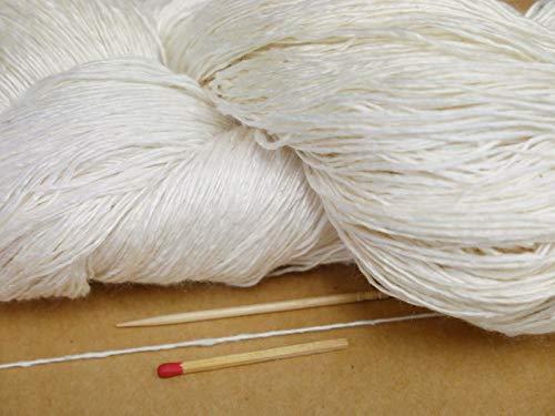 絹ロービング1400d(白・かせ) ふっくら、ふわふわやわらかくて軽さバツグンの絹糸です。