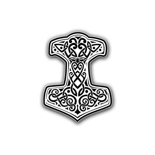 Aufkleber/Sticker Thors Hammer Mjölnir weiß Gott Donnergott Germane 7x5cm #A677