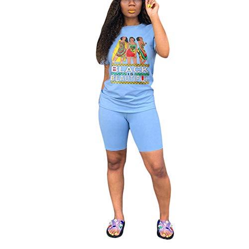HaiDean Traje deportivo para mujer corta cuello manga redondo Modernas Casual patrón de flores simple de dos piezas moda de verano ejercicio básico al aire libre casual clásico chándal pantalones cali