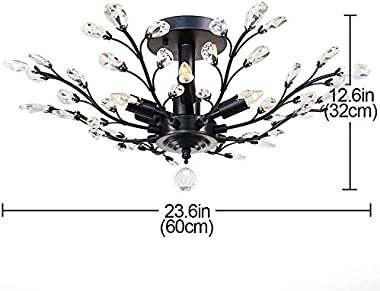 Lámpara de techo de cristal vintage, moderna y elegante lámpara de cristal K9, lámpara de techo para salón, dormitorio, resta