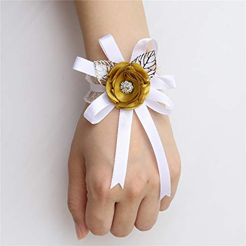 Pulsera de boda más barata de seda rosa de la muñeca ramillete de la novia dama de honor de la mano de la muñeca de la flor de la mujer de la pulsera de ramillete de la boda fiesta de la muñeca flor