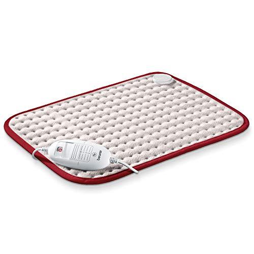 Beurer HK Comfort Almohadilla eléctrica térmica, transpirable, tacto suave, calentamiento ultrarápido, apagado automático 90 minutos, 3 potencias, display iluminado, 40x33 cm, blanca borde rojo