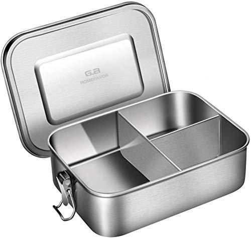 G.a HOMEFAVOR 1200ml Lunchbox Brotdose aus 18/8 Edelstahl Bento Box mit 3 Fächern, 19 * 14 * 6 cm