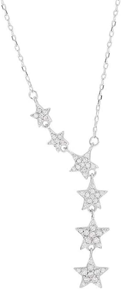 WEILYDF Charming Star Pendant Necklace Simple Clavicle Chain Collar Choker Jewelry Birthday Gift for Women Girls