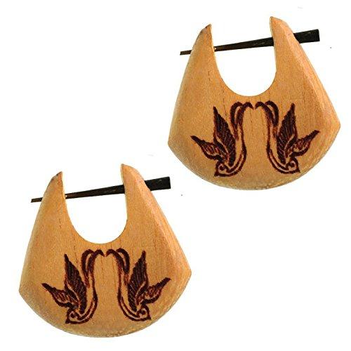 Chic-Net Pin Creolen Jackfrucht Holz hell Horn-Pin 23 mm Träne dunkle Gravur Motiv