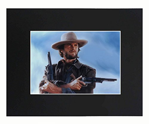 XQArtStudio Clint Eastwood Portrait 8x10 Black Matted Art Artworks Print Paintings Printed Picture Photograph Poster Gift Wall Decor Display