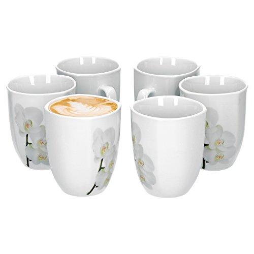 Van Well Vanda weiße Orchidee 6er Set Kaffeebecher, 330 ml, H 10,3 cm, Kaffeetasse, Blumendekor, edles Marken-Porzellan