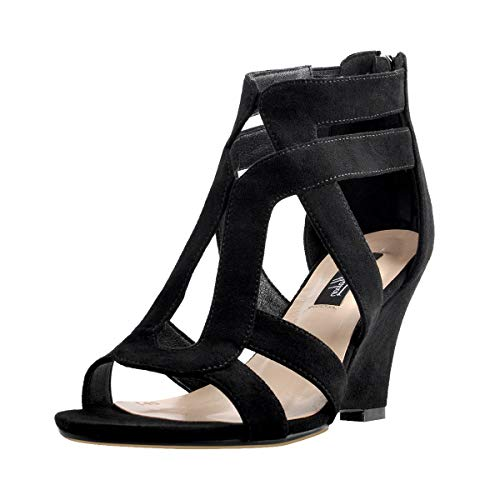 Onlymaker Women's Gladiator Cut Out Wedge Sandals Sexy Peep Toe Heeled Casual Party Dress Shoes Black 9 M US