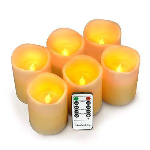 LED Kerzen,Flammenlose Kerzen 200 Stunden Dekorations-Kerzen-Säulen im 6er Set (10.2x7.6cm). Realistisch flackernde LED-Flammen 10-Tasten Fernbedienung mit 24 Stunden Timer-Funktion (Ivory)