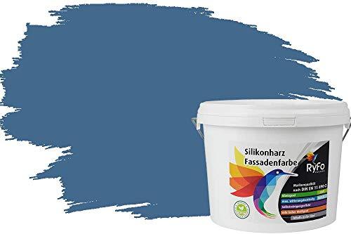 RyFo Colors Silikonharz Fassadenfarbe Lotuseffekt Trend Fernblau 3l - bunte Fassadenfarbe, weitere Blau Farbtöne und Größen erhältlich, Deckkraft Klasse 1