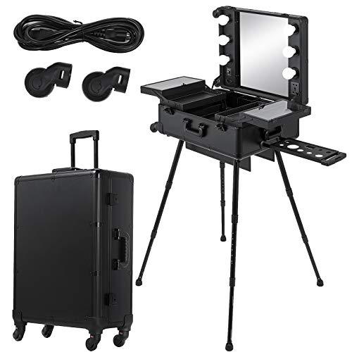 Ukiki Mesa de maquillaje profesional 2 en 1 Estuche de maquillaje con ruedas profesional 6 cajones de luz para Studio Artist 6 Mesa de tren con cierre de luz Espejo negro