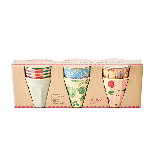 Rice Melamine Cups with Assorted 'Let's Summer' Prints - Small - 6 pcs. in Giftbox