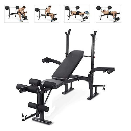 ZLMI Viktbänk inomhus multifunktionell hem subpin bräda tyngdlyft skivstång ställning bänk press styrka träning fitnessutrustning, svart