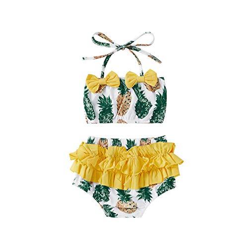 Cute Bikinis for Girls Baby Two Piece Swimsuit Tie Halter Top Tankini Bathing Suit Pineapple Hawaiian Beach Wear Ruffle Swimwear Set Summer Swim Surfing