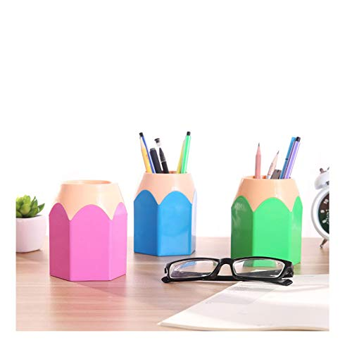 Porta bolígrafo de escritorio de plástico Porta bolígrafos con forma de bolígrafo Porta bolígrafos de plástico creativo Portalápices de escritorio Adecuado para la escuela de oficina en casa(3 pcs)