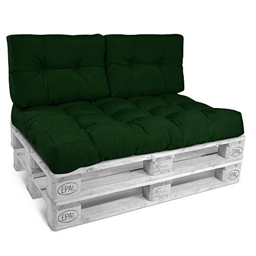 Beautissu Cojín Palet, sofá-Palet y europalet Eco Style - Cojín de Respaldo Acolchado 120x40x10-20 cm Color: Verde Oscuro Elegir in/Outdoor