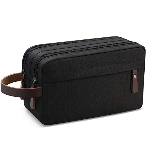 Men's Travel Toiletry Organizer Bag Water-resistant Shaving Dopp Kit Bathroom Bag (Black Water-resistant)