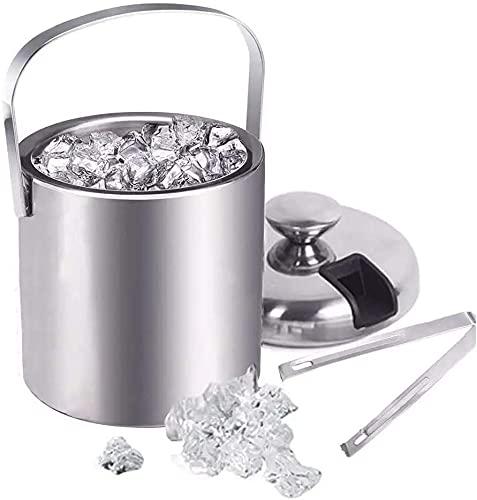 ZRDSZWZ Confiable 1300 ml de acero inoxidable cubo de hielo contenedor de hielo de doble pared cubo de hielo con pinzas de la tapa de la abrazadera de aislamiento térmico Bar Herramientas