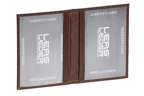 LEAS Ausweismappe- & -hülle mit 2 Sichtfenstern Echt-Leder, dunkelbraun Card-Collection