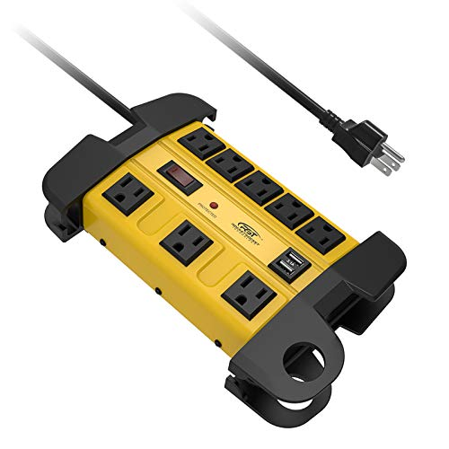 Heavy Duty Power Strip Surge Protector with USB,CRST Metal Power Strip with 2 USB 15 Amps, 15-Foot...