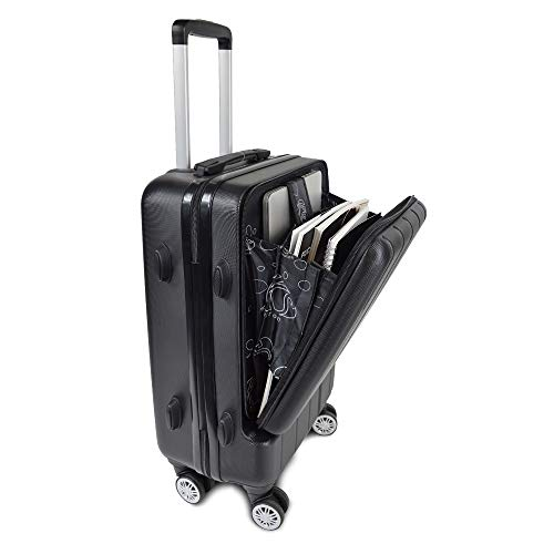 Kinston 41L Cabin Suitcase with Laptop Compartment – Lightweight Hard Trolley Hand Luggage 4 Wheels Double Swivel 360 Degree and Code Lock – Black