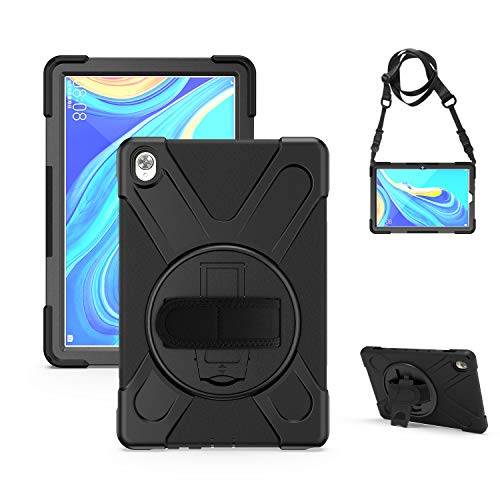 """Gerutek - Funda para Tablet Huawei MediaPad M6 10.8"""" 2019, rotación de 360 Grados, Correa de Mano y Correa Ajustable para el Hombro Cubierta Protectora para Huawei MediaPad M6 10.8, Color Negro"""