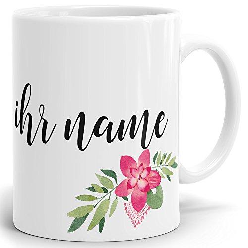 Drucksaal Namenstasse-Tasse-Becher-Kaffeetasse-mit Name-mit Namen individuell und persönlich Motiv Rote Blume