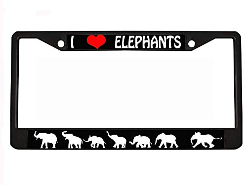 I Love Elephants Black Metal Auto License Plate Frame Car Tag Holder