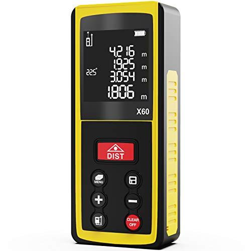 Medidor Laser 60M, papasbox Telemetro Laser con Sensor de Ángulo Electrónico, 99 Datos, Medidor Láser de Medición Portátil Multifuncional, LCD Pantalla Reiluminada IP54 (Batería Incluida)