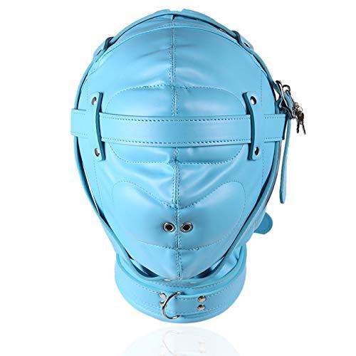 UYTE Bondage Hood Sm Fetisch PU-Leder-Kopfbedeckung mit Vent M-Bittet, Sex-Spiel spielt, für Slave Rollenspiele Für Paare Erwachsene 1
